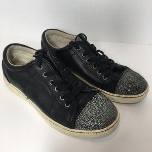 Ugg Taya Leather Sneaker Black Size 8
